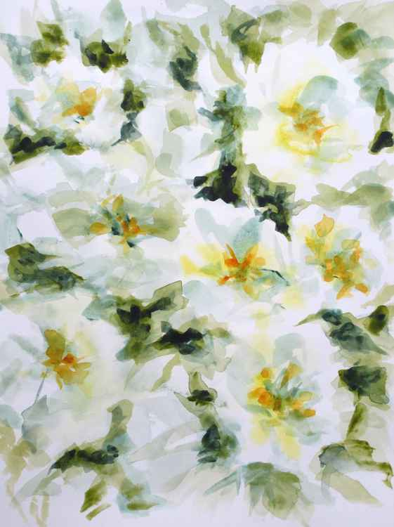 White flowers - watercolor painting -