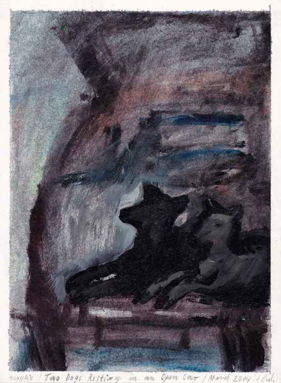 Two Dogs Resting in an Open Car, March 2014, acrylic on paper_ Alenka Koderman -