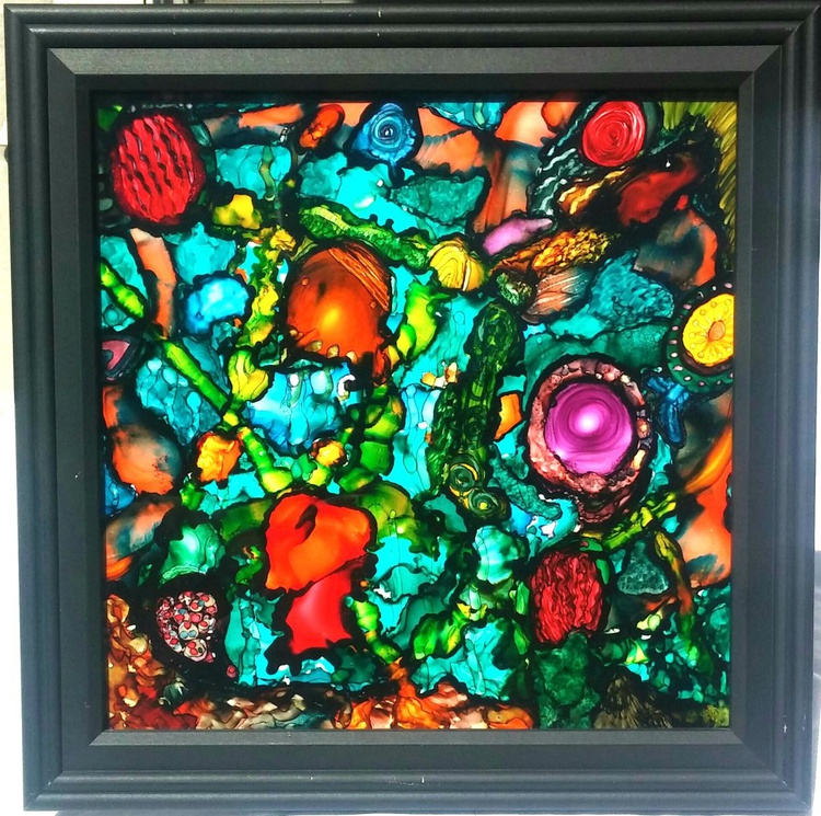 ALICE UNDER THE SEA – ORIGINAL FRAMED PAINTING - Image 0