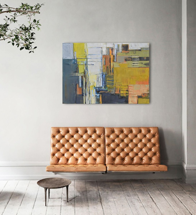 """""""The perspective of the city"""" oil painting, 100/70 cm. - Image 0"""
