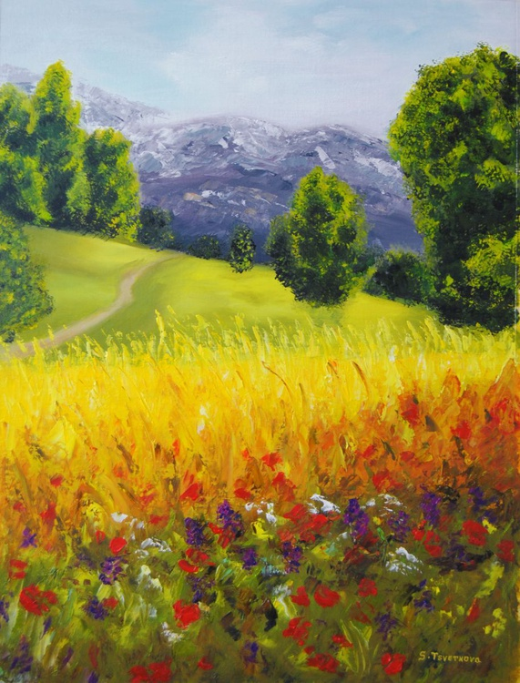 Landscape with poppies 2 - Image 0