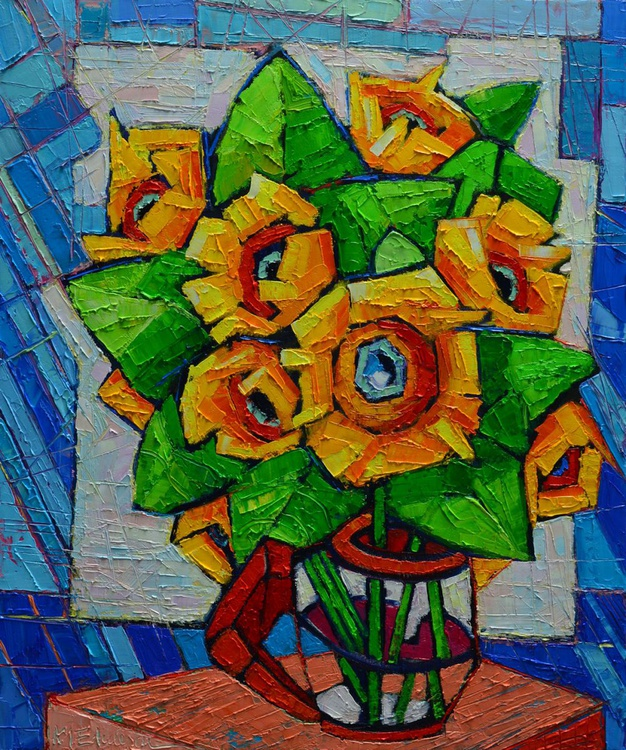 CUBIST SUNFLOWERS - modern colorful vibrant highly textured floral palette knife oil painting - Image 0