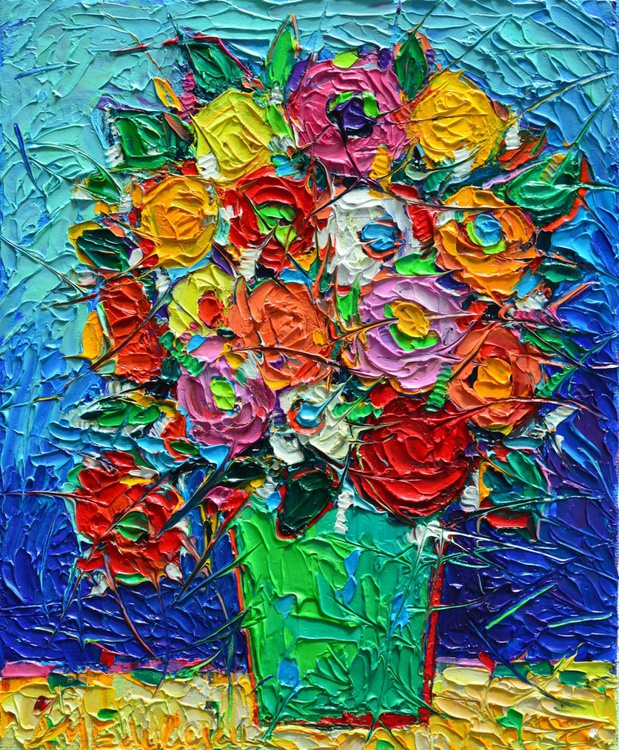 COLOURFUL WILD ROSES - abstract modern impressionist floral miniature palette knife oil painting - Image 0