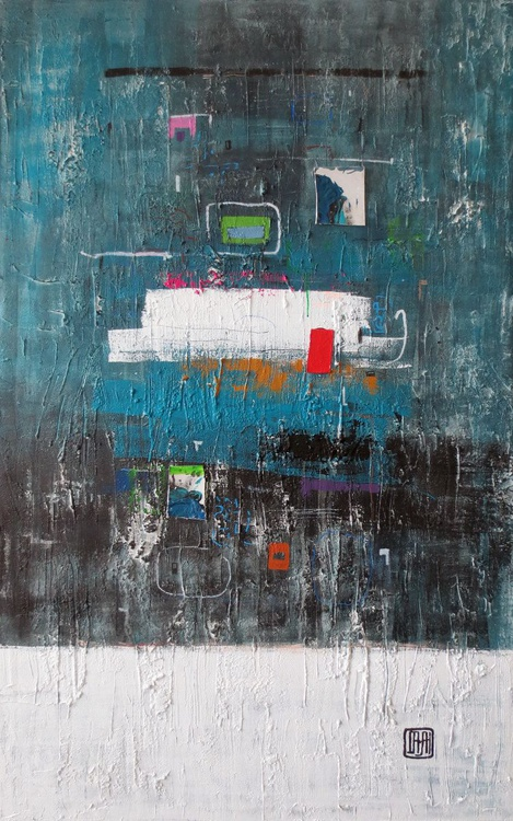 A56 Contemporary abstract minimalist Spiritual Architecture Landscape Acrylic on canvas Large wall art Painting - Image 0