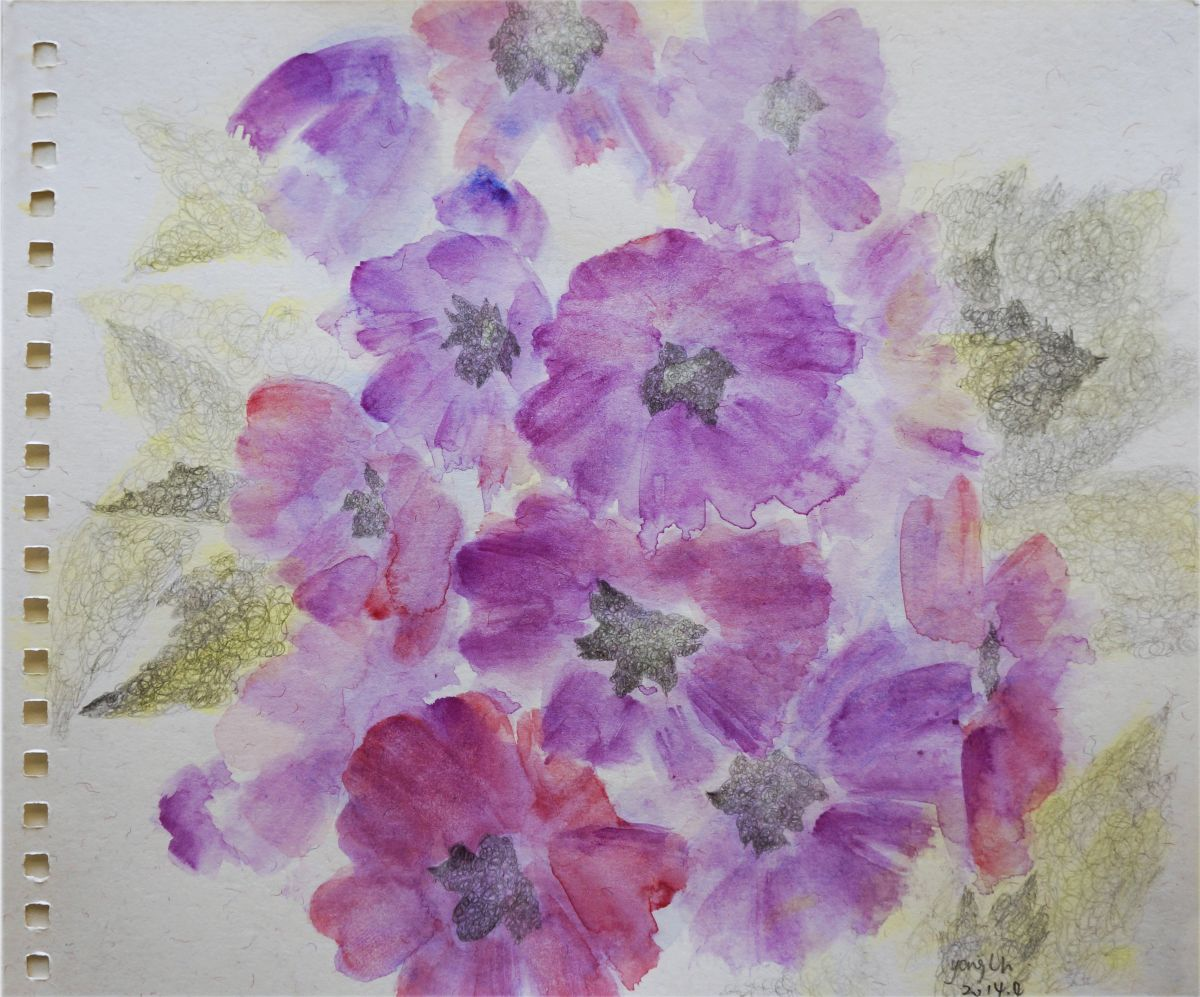 Flower language#2 2014 Watercolour by lihong yang