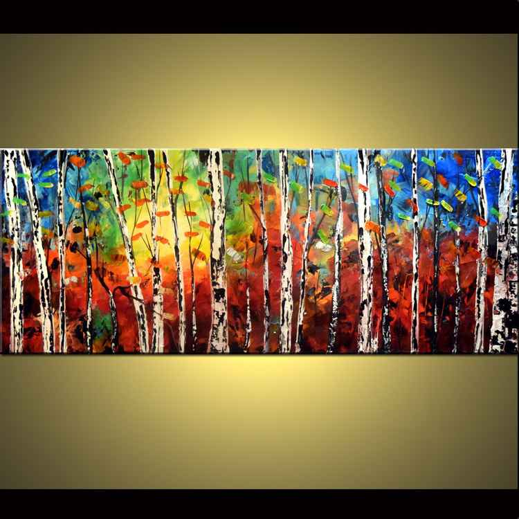 """Burning October"" Aspen tree painting in blue and brown, large 60x24 fall color birch autumn forest, aspen trees, fall forests,Palette Knife Painting"
