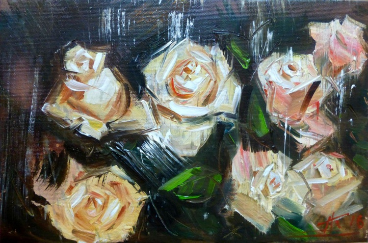 Bouquet of roses, oil painting 30x20 cm - Image 0