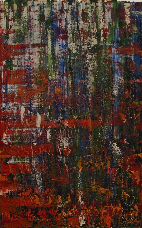 Ab10 xiv (dragged paint abstract) Original One of a Kind Abstract Oil Painting - Image 0