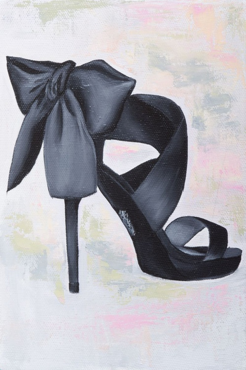 "Original oil painting on canvas ""Little black shoe"" - Image 0"