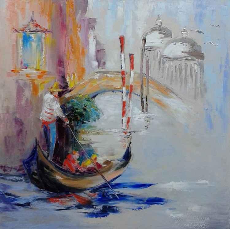 painting Венеция *Гондола по воде скользит А время по любви летит ** Oil on canvas 70х70 cm -