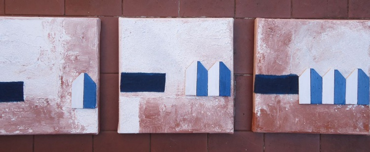 SET OF 3 SMALL PAINTINGS (6) - Image 0