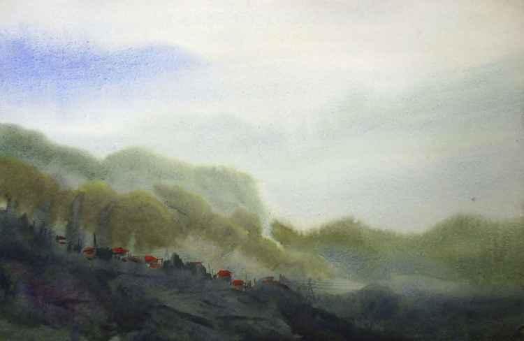 Morning Himalaya Beauty - Watercolor on Paper -