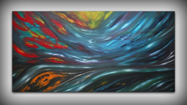 Nocturnal - 120x60 cm,  Original abstract painting, oil on canvas - Image 0