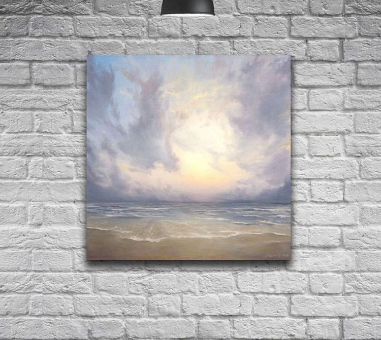 Original artwork Pink Sunset, Skyline, Seascape,Sea and sun - Image 0