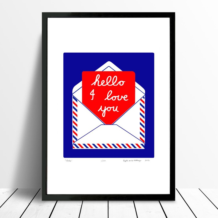Hello (crimson & cobalt) - Framed - FREE UK Delivery - Image 0