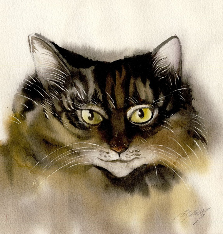 Brown Cat watercolor - Image 0