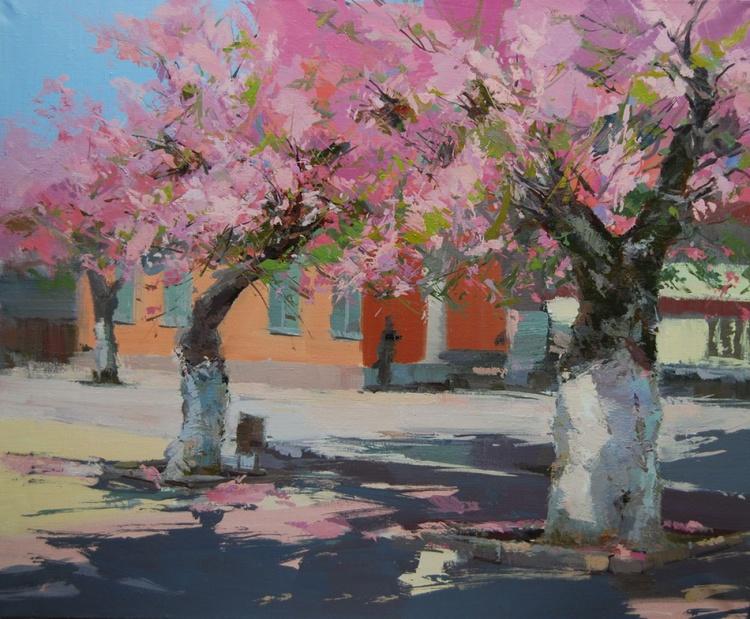 """Oil landscape artwork """"Pink Shadows"""" - Image 0"""