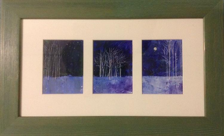Velvet Blue - the winter forest ( framed triptych ) - Image 0