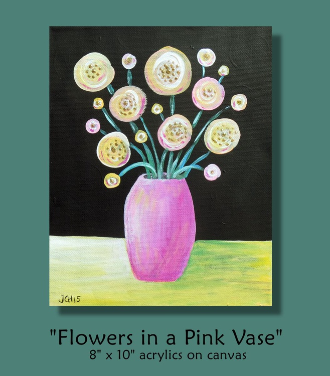 Flowers in a Pink Vase - Image 0