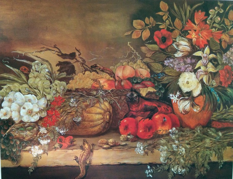 Still life with Flowers, Fruit, Insects and Reptiles - Image 0
