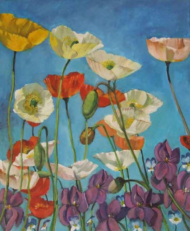 Poppies and Violets -