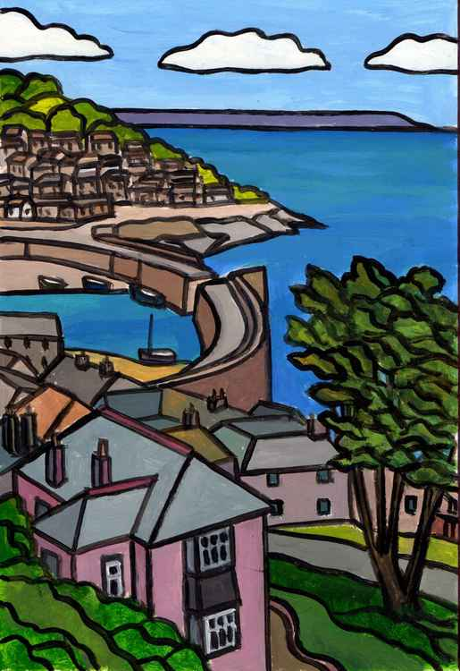 Mousehole harbour view.