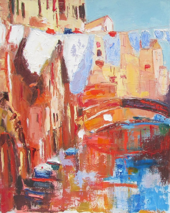 Venice canal, Original Oil Painting - Image 0
