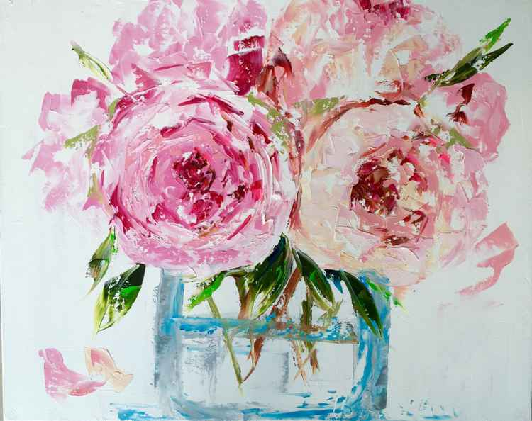 "Pink Peonies in a glass Vase- oil on canvas 24""x30"" -"