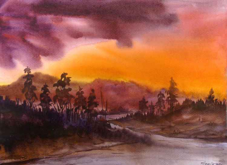 Sunset Mountain Landscape - Watercolor on Paper -