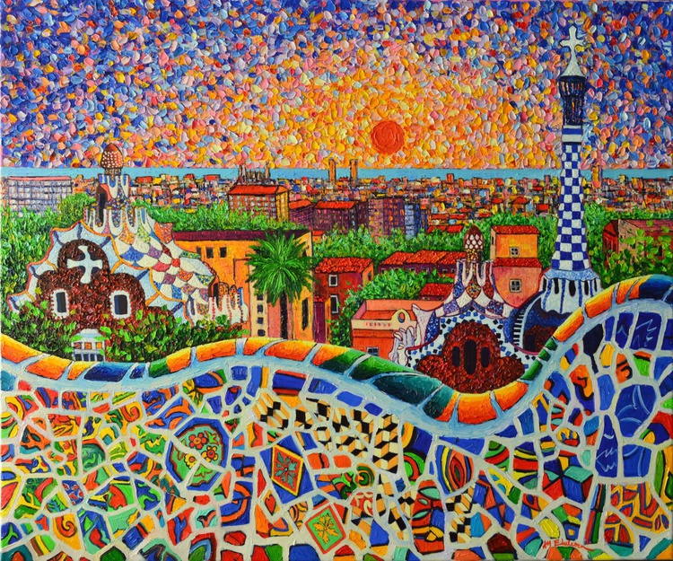 BARCELONA PANORAMIC VIEW FROM PARK GUELL - large palette knife oil painting on linen 90x75 cm - Image 0