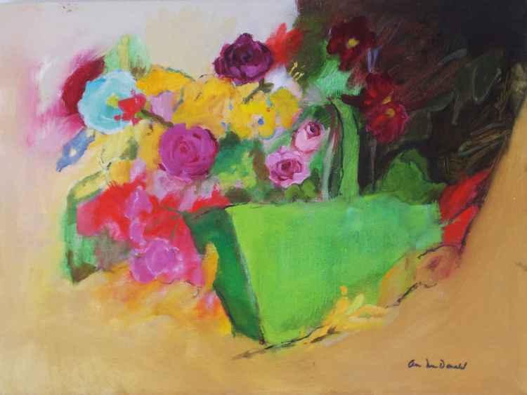 Flowers in Green Garden Basket