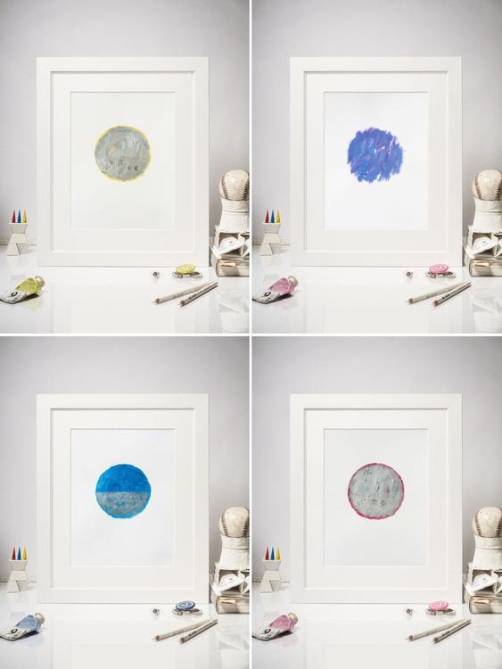 Set of 4 Contemporary Dot Paintings, series Silencio - Image 0