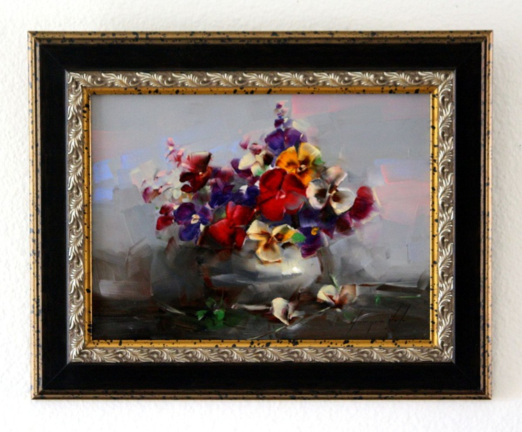 Vase of Pansies Handmade oil Painting Framed One of a kind - Image 0