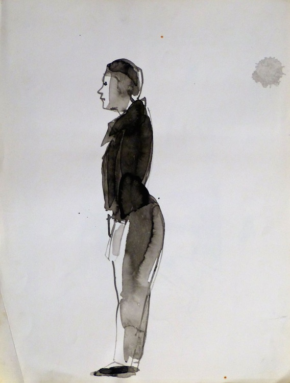 Standing Model, old drawing, 25x33 cm - Image 0
