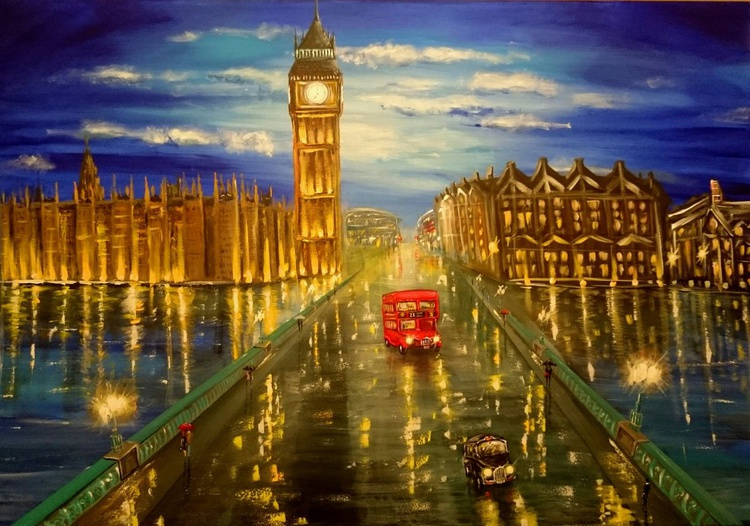 London Westminster XL Large Cityscape Artwork - Image 0