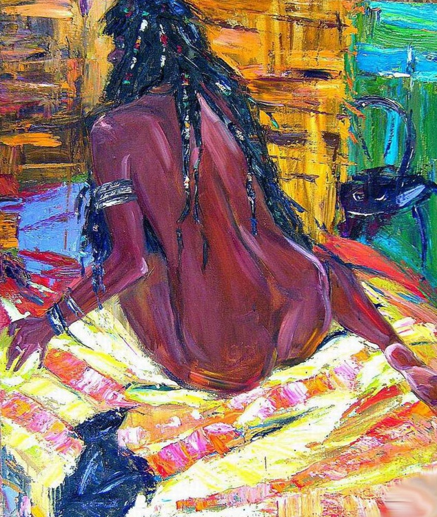 African naked woman,  large oil painting 85x100 cm - Image 0