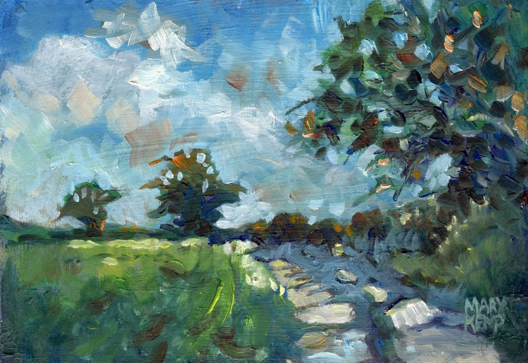 """Small Landscape Oil Painting. """"Country Lane"""". - Image 0"""