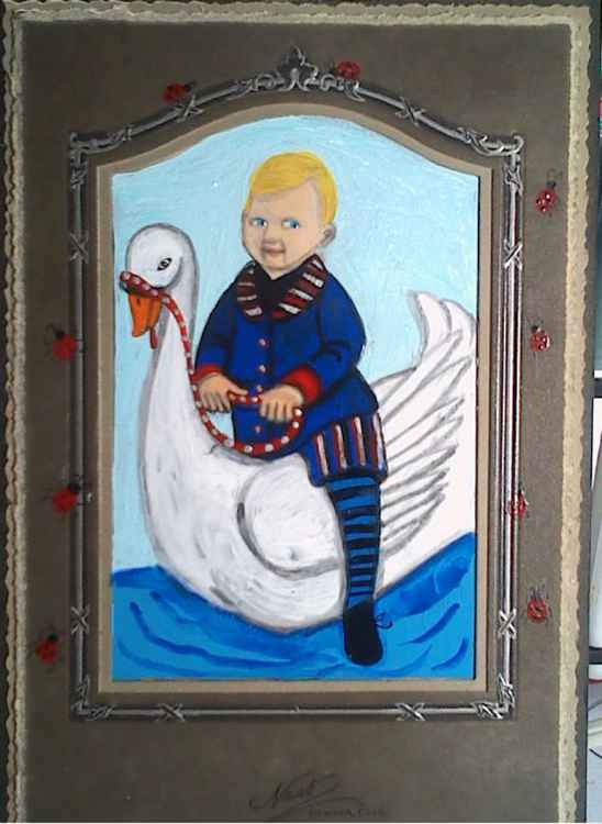 Mother Goose's Son Riding a Swan - The Happy Boy