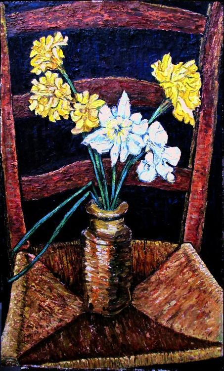 Daffodils in a stone pot on an old chair - Image 0