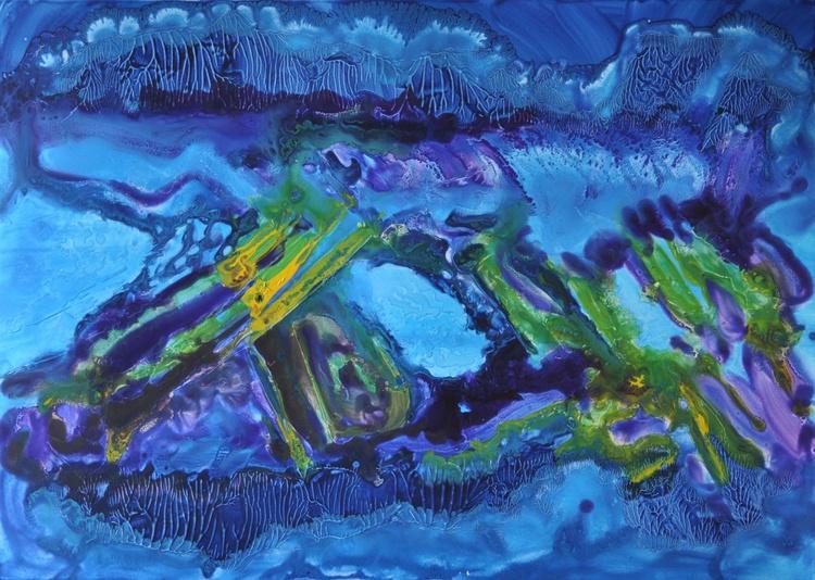 minéral1  2014-44 acrylique sur papier -50x70cm - Image 0