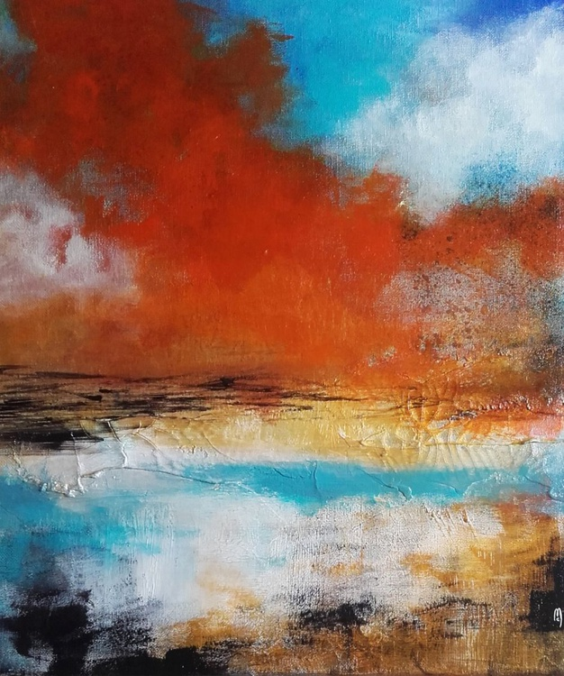 Abstract Painting - Orange Blue - Abstract Canvas - Céline Marcoz Art - Image 0