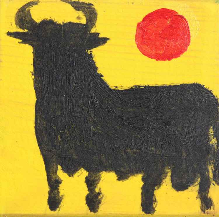 Spanish Black Bull on yellow -