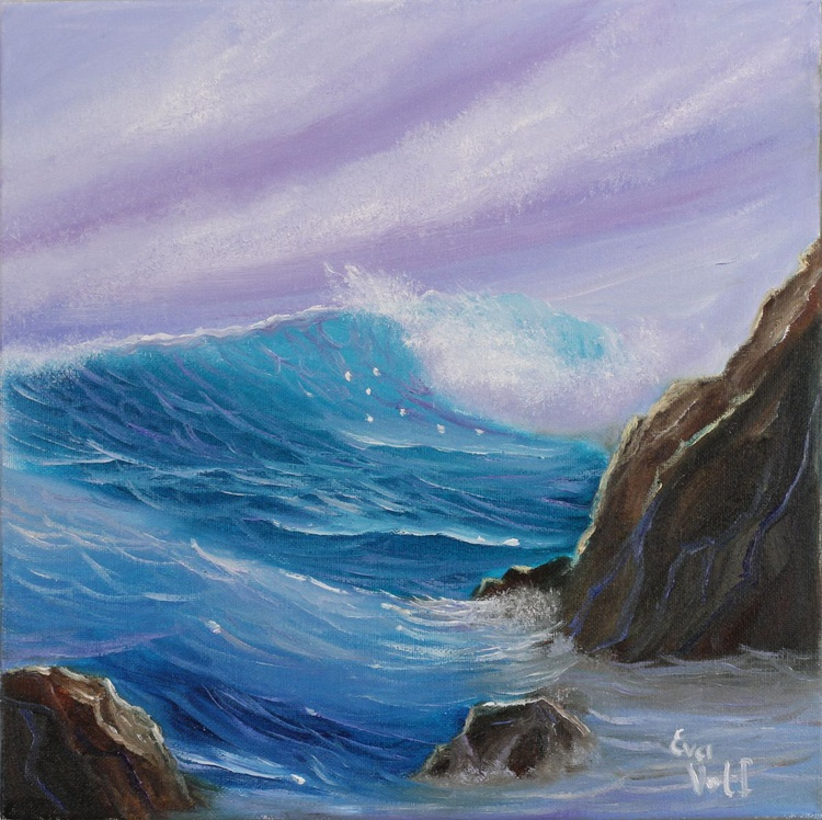 """Ocean Waves, small seascape oil painting,  ocean painting 12x12"""" - Image 0"""