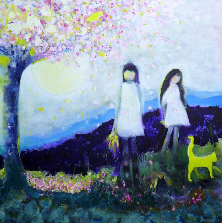 """Two Girls In White Dresses 36 x 36""""/91.5 x 91.5cm - Image 0"""