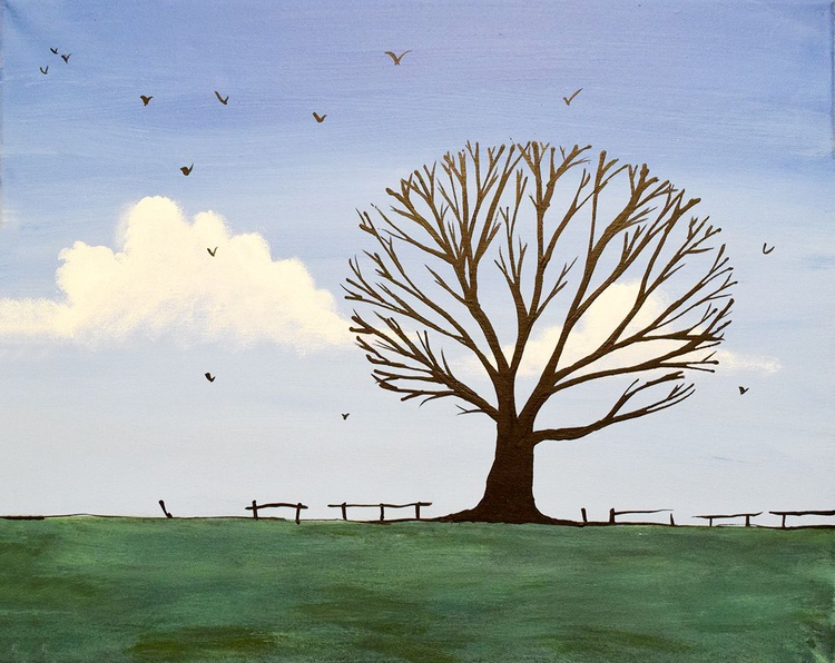 """original abstract landscape """"One tree hill"""" painting art canvas - 16 x 20 inches - Image 0"""