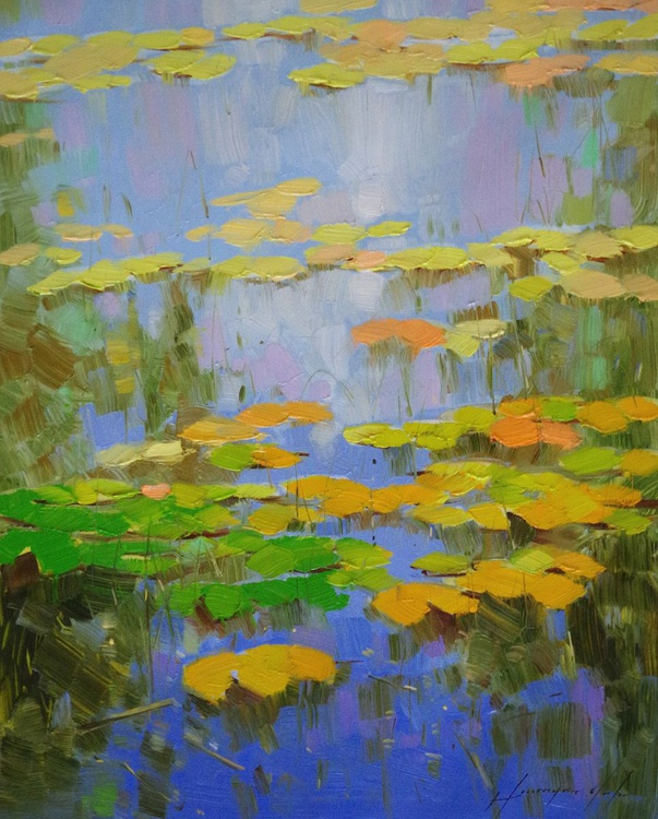 Water lilies - Cobalt Pond, Original oil Painting, Impressionism, Handmade artwork, One of a Kind - Image 0
