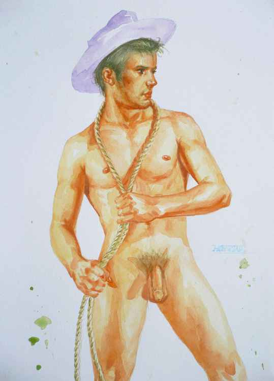 ORIGINAL CLASSICAL WATERCOLOR PAINTING ART MALE NUDE  MEN COWBOY ON PAPER#12-21-02 -