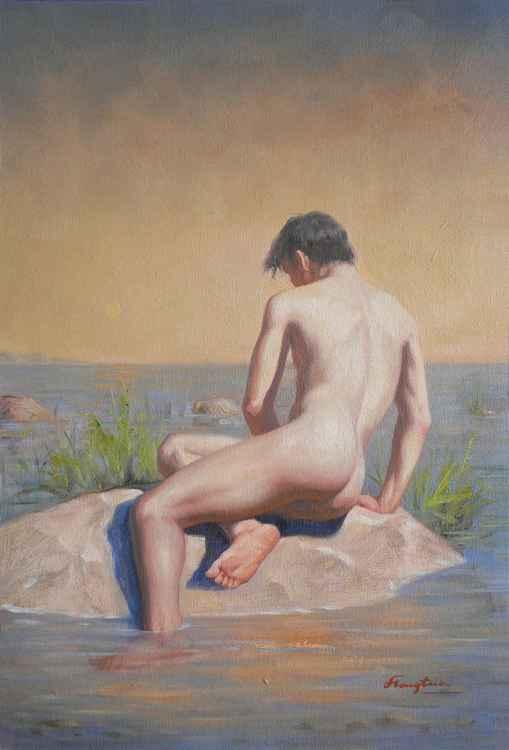 Original Oil paintingl art male nude boy on linen  #16-5-1-09 -