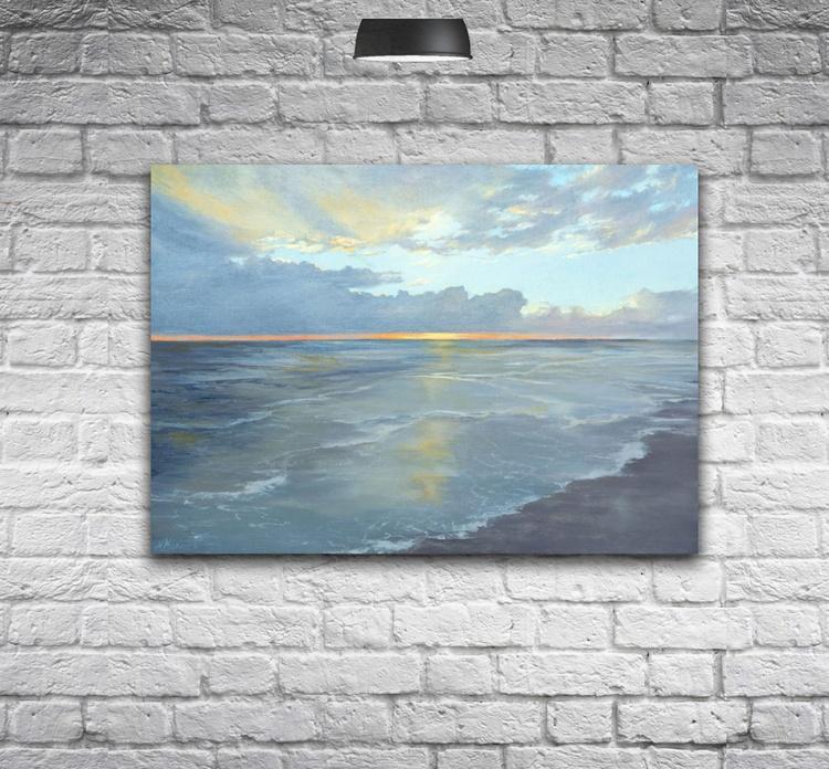 ORIGINAL ARTWORK , CALM SUNSET, REFLECTIONS OF SUNSET - Image 0