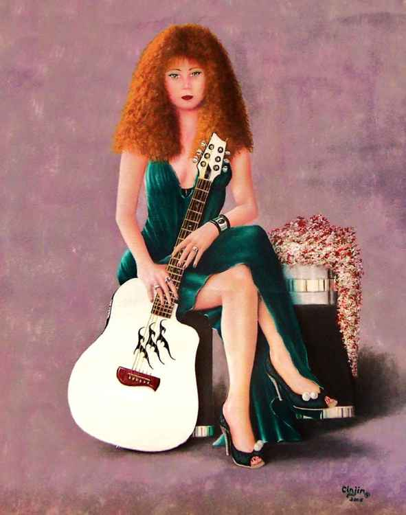 """ GUITAR QUEEN ""   18 X 24   Cinjin Artworks copyright 2015"
